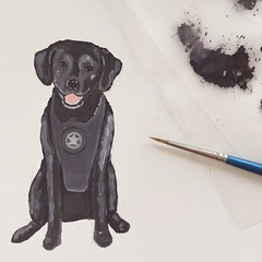 Working on Ella's portrait for her retirement party invitation.