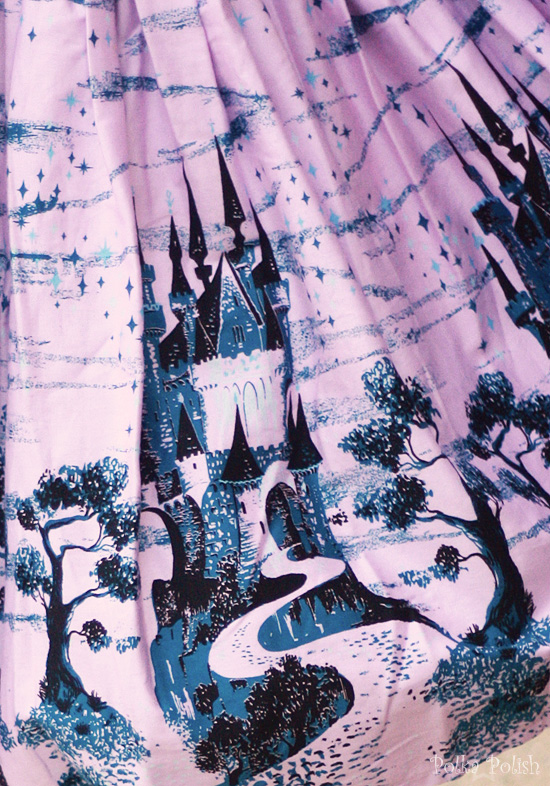 Castle print Jenny skirt print from Pinup Girl Clothing