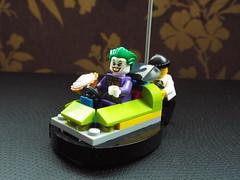 Joker in a bumper car
