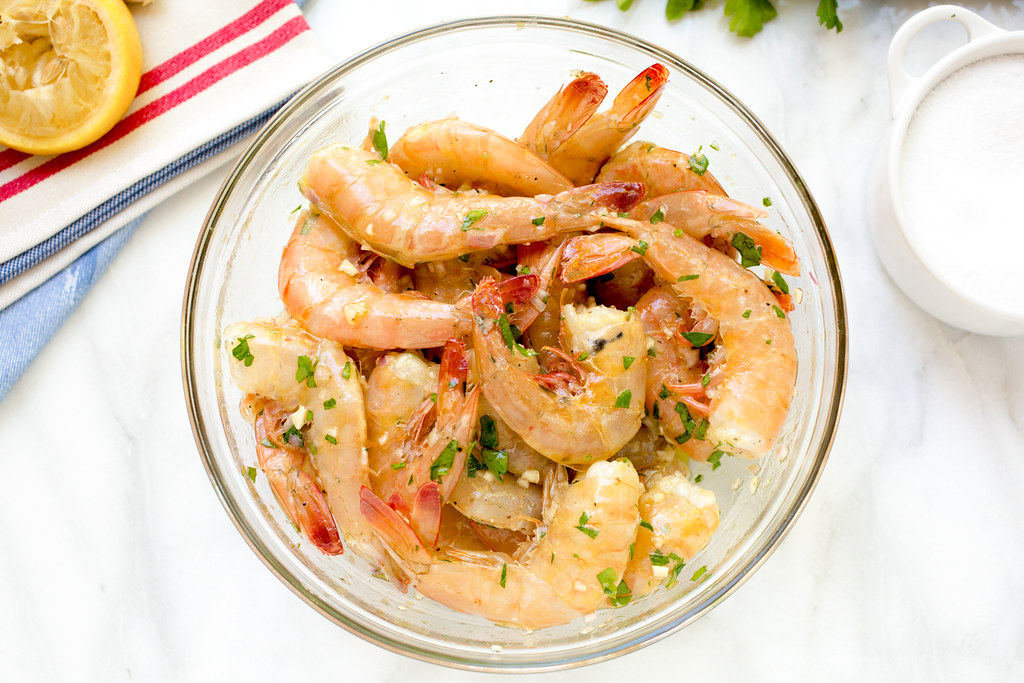 shrimp marinating in bowl