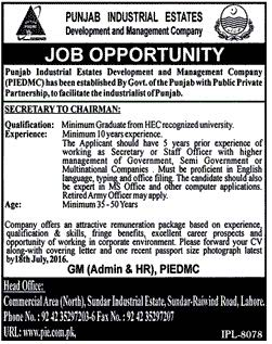 Punjab Industrial Estates Secretary Required
