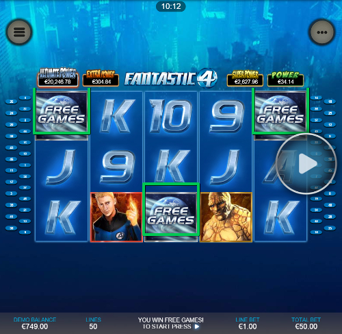 free Fantastic Four Mobile free spins feature