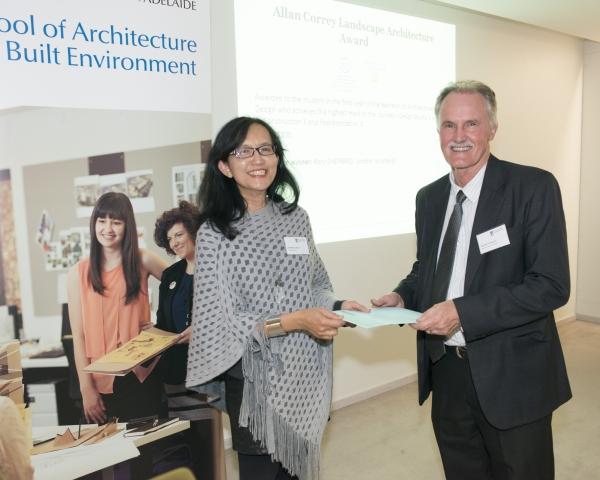 2014 Winner: Rory Sheppard Presented by Mr Trevor Christensen (Deputy Director)accepted on behalf by A/Prof Veronica Soebarto (Acting Head of School)