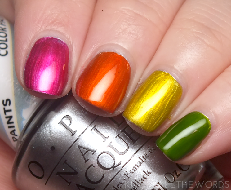 opi colour paints magenta muse, chromatic orange, primarily yellow and landscape artist over silver canvas