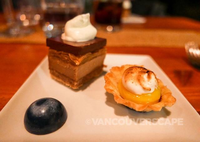 Lemon curd mousse, meringue & blueberries, honey caramel & apple butter shortbread, salted caramel chocolate bonbon
