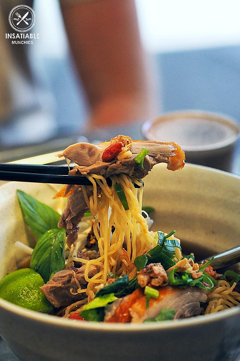 Duck Noodle Soup - Roasted five spice duck egg noodles with goji berry, thai basil, and chilli oil