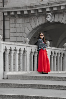 Image of Doge's Palace near Venice. bridge venice red portrait white sunglasses architecture columns elegant dogespalace