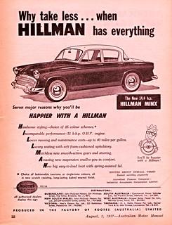 1957 Hillman Minx Sedan Ad (Australia)