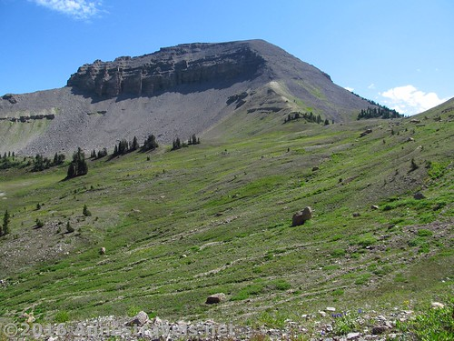 Fossil Mountain from high on the Trail Route up Darby Canyon, Jedediah Smith Wilderness Area near Grand Teton National Park, Wyoming