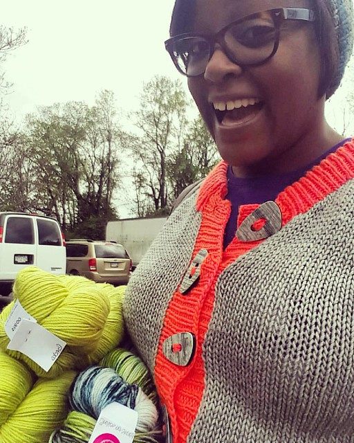 The line was long but I got all the lovely @missbabsyarns I wanted and met THE Miss Babs too! #MDSW2016 #mdsheepandwool #yardsofhappiness