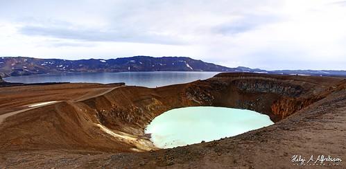geothermalwater crater caldera mountain volcano askja niceland