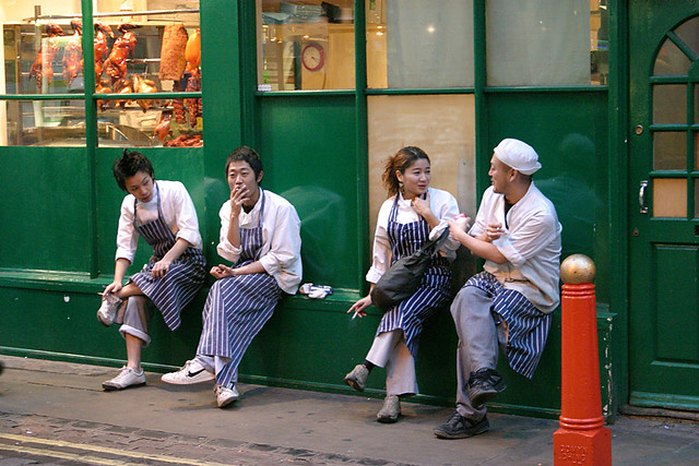 Chinatown kitchen workers taking a break