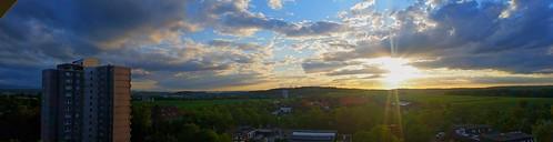 sunset sky panorama clouds pano bluesky panoramic panoramablick sunsetscenery waldhausentübingen