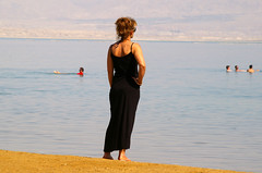 Woman looking out to the Dead Sea, Ein Bokek, Israel