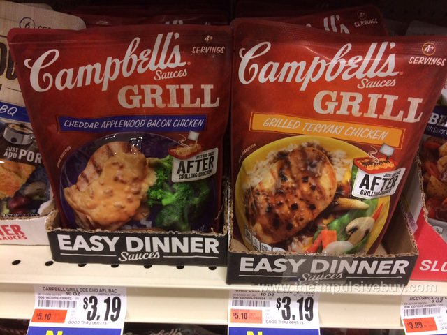 Campbell's Grills Sauces (Cheddar Applewood Bacon Chicken and Grilled Teriyaki Chicken)