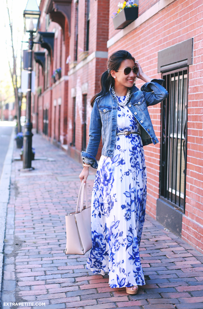 floral maxi dress denim jacket