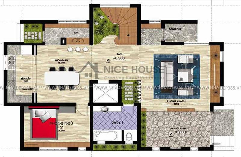 Thiết kế biệt thự 3 tầng hiện đại mái dốc