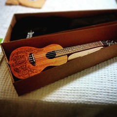 My Luna Mo'o Concert-sized ukulele arrived! Embellishments are monstera leaves and lizards. Beautiful sound!