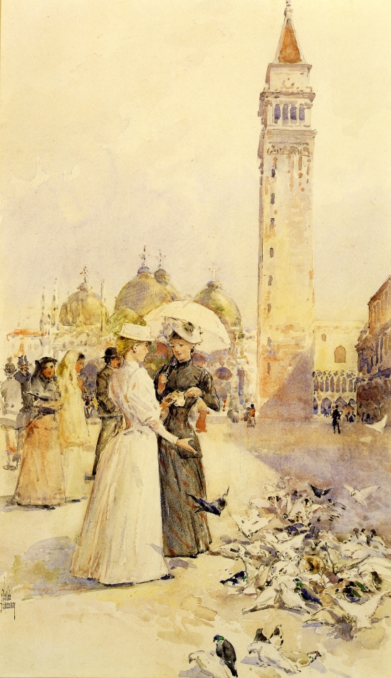 Feeding Pigeons in the Piazza by Frederick Childe Hassam - circa 1883