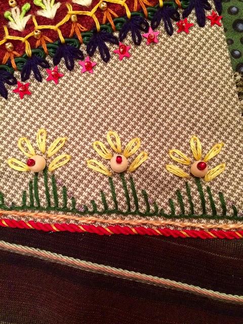 Lazy Daisy, Pyramid Buttonhole, Split Stitch, Couching, stacked beads.