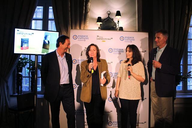 Michel-Édouard Leclerc, Teresa Cremisi, Karine Papillaud, Paul Colize - Prix Landerneau Polar 2015, remis à Fred Vargas
