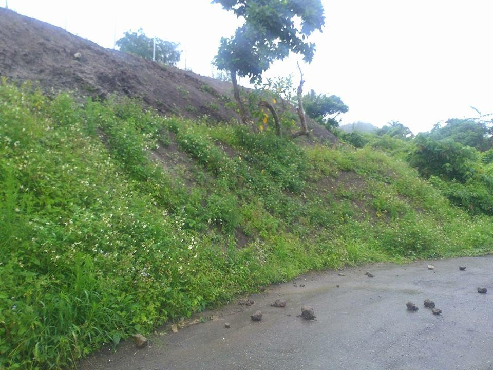 大雨後,鄰田開始落石