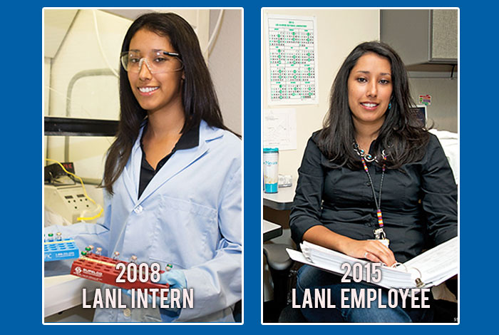 Alicia Salazar-Crockett was the 2008 Platinum Award winner of the Los Alamos Employees' Scholarship Fund. On the left is Salazar-Crockett as a student intern in 2008, on the right as a full-time Laboratory employee in 2015.