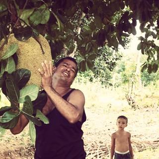 My brother-in-law hefts a #jaca . ca 2005.   #brazil #brazilian #maranhao #axixa #brasil #brasileiro #jackfruit #nordeste #nordestino