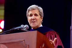 U.S. Secretary of State John Kerry delivers the commencement address for Northeastern University's Class of 2016 on May 6, 2016, at TD Garden in Boston, Massachusetts. [State Department photo/ Public Domain]