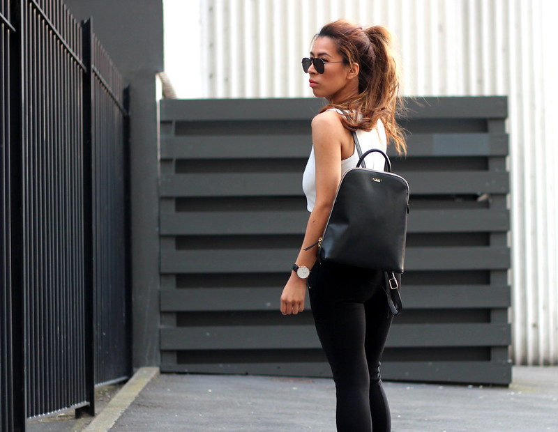 White Missguided Crop Top, Black Leggings, Radey Backpack, Saucony Trainers, Fitness Blogger