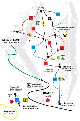 Trafoi - mapa sjezdovek