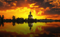 The Big Golden Buddha on sunrise