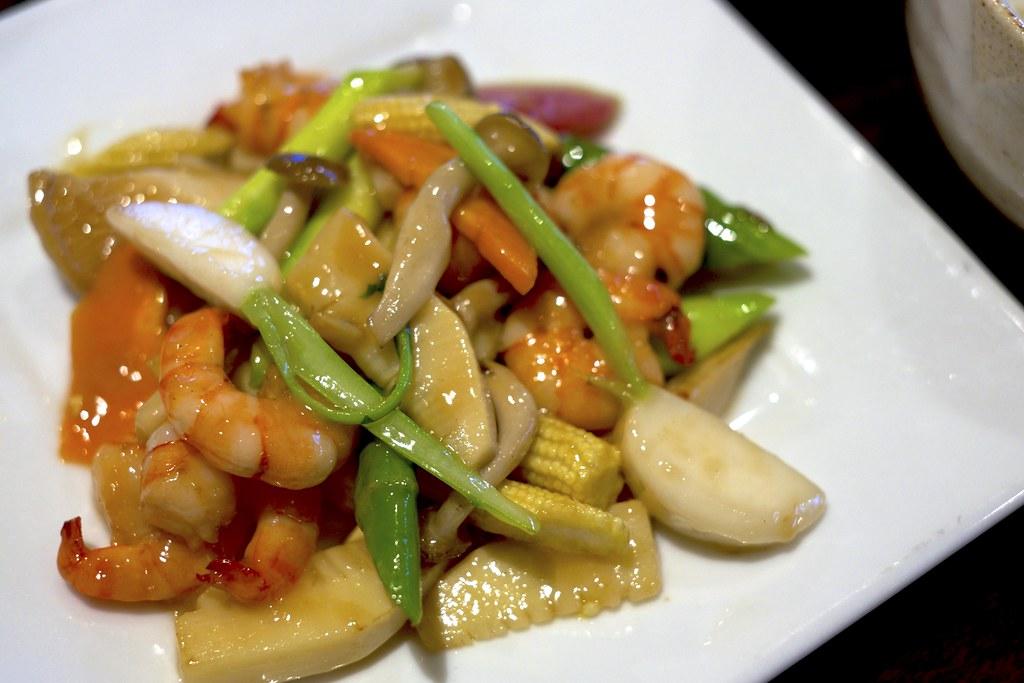Stir-fried prawns and vegetables / 季節野菜と海老の塩炒め / 忠実堂 (千葉県船橋市)