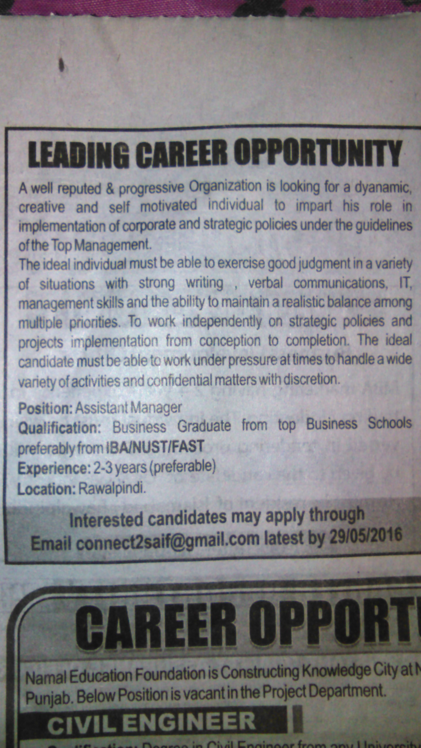 Progressive Organization Assistant Manager Required
