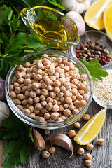 ingredients for preparing hummus