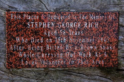 Steven Rich Reserve Memorial Plaque, Bundabah, near Tea Gardens, NSW, 17.4.2015