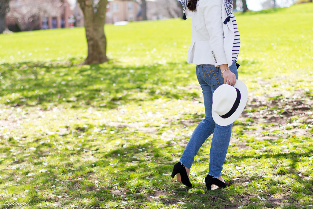 striped shirt, white blazer, jeans, panama hat-3.jpg