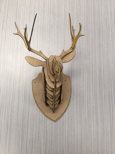 Laser engraved stag head