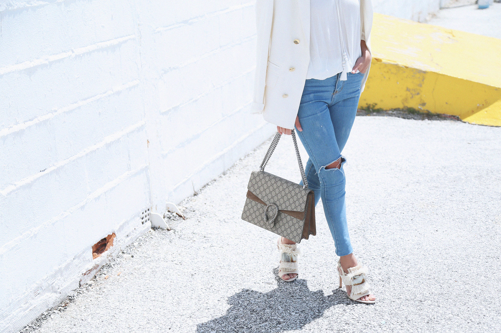 jessie chanes seams for a desire white off shoulder top high waisted jeans gucci bag uterque-5