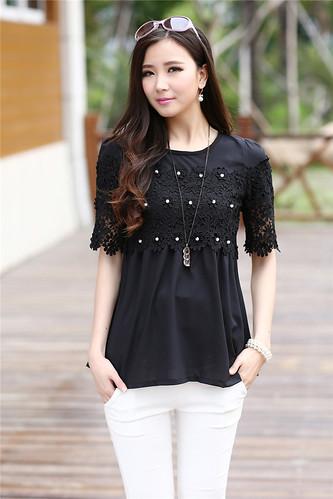 2015 Summer Fashion Womens Elegant Elbow Sleeve Tee Crochet Tunic Chiffon Top Plus Size 15