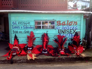 Carnival preparations on Bocas del Toro, diablo masks