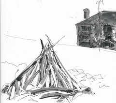 Drift Wood Pyramid and Building  (1)