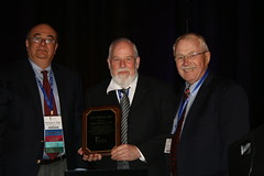 SFB C. William Hall Award recipient- Carl McMillin, PhD, Synthetic Body Parts, Inc. with Nick Ziats and James Anderson