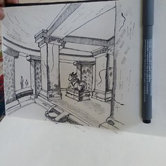 Its always a great pleasure to see old rock temple. I wonder about our ancestors skills. Really astonishing... #temple #janglimaharajtemple #mandapam #nandi #sketch #drawing #pune #rockcarving #rocktemple #perspective #ink #ruins #remains