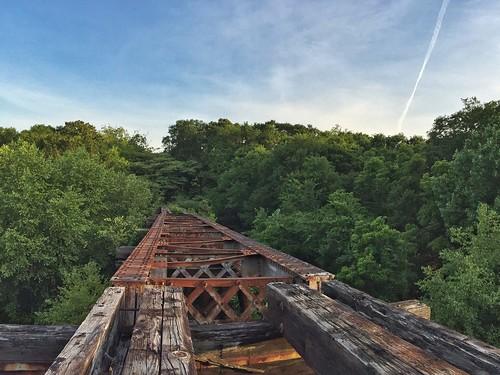 wood trestle trees sky train sunrise ga georgia steel athens