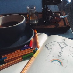 Earl grey #tea & #equality ~ a #studio-time-Saturday #sketch #drawing for an impromptu #graphictee in the works.. Have you heard about the #marriagereferendum in #Ireland right now? It\'s pretty groundbreaking that it\'s being debated, will be a precedent-s