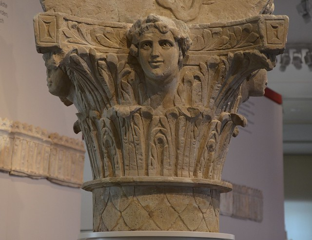 Corinthian column with the four seasons, Jupiter on horseback slaying an anguiped giant, from the top of a Jupiter column, found in Sinsheim, around 200 AD, Badisches Landesmuseum Karlsruhe, Germany