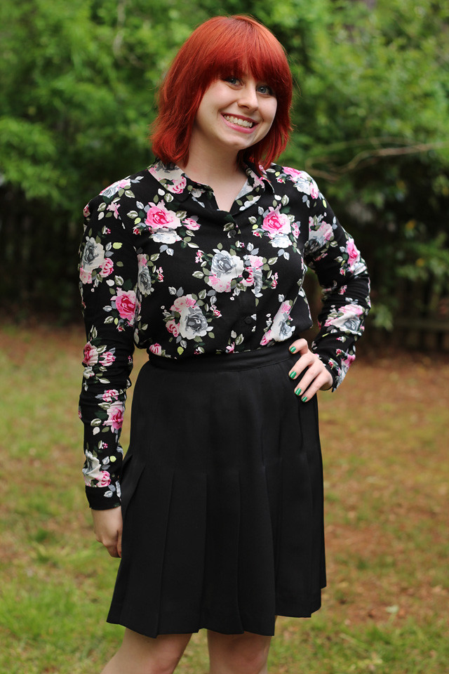 Black Floral Print Long Sleeved Top and a Black Pleated Skirt