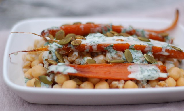 Honey-roasted carrots with herby creme fraiche over garlicky farro & chickpeas by Eve Fox, the Garden of Eating, copyright 2016