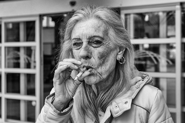 Woman, posing with cigarette